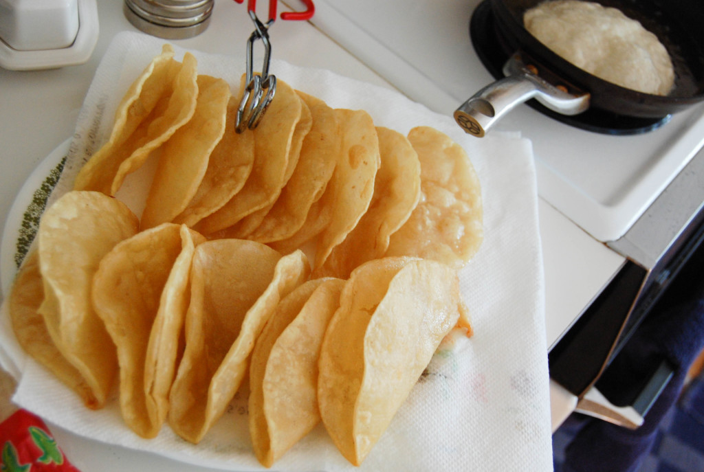 Frying Taco Shells - because, yes, must make supper